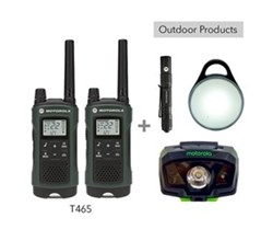 Recreational Radio Bundles motorola t465 bundle with pebl flashlight and headlamp