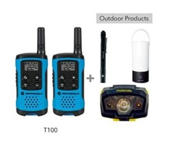 Recreational Radio Bundles motorola t100 bundle with lumo lantern flashlight and headlamp