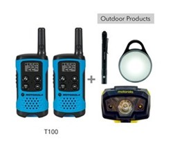 Recreational Radio Bundles motorola t100 bundle with pebl flashlight and headlamp