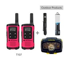 Recreational Radio Bundles motorola t107 bundle with lumo lantern flashlight and headlamp