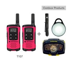 Recreational Radio Bundles motorola t107 bundle with pebl flashlight and headlamp